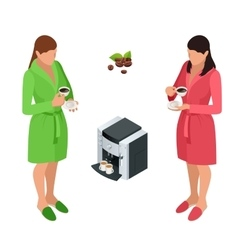 Two woman drinking coffee at home flat 3d vector