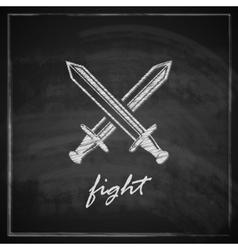 Vintage with swords on blackboard background vector