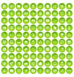 100 computer icons set green circle vector