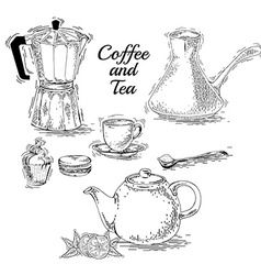 Set of coffee elements vector