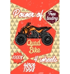 Color vintage quad bike poster vector