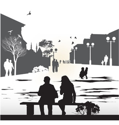 Couple sitting on a bench vector