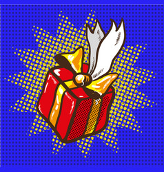Gift floating holidays present pop art vector