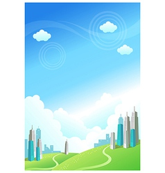 Buildings over the green mountain vector