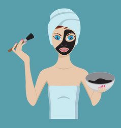 Young girl applying black beauty mask vector