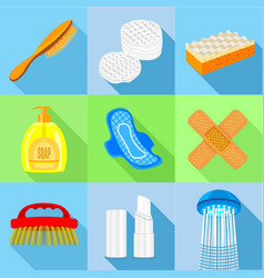 Hygiene tools icons set flat style vector