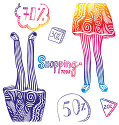 Colorful with sales elements and legs of woman in vector