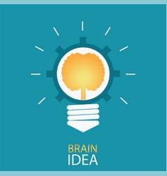 creative light bulb with brain and gear vector image