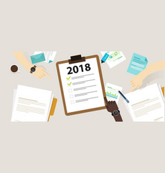 2018 new year resolution and target business check vector