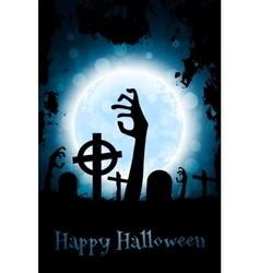 Halloween zombie party poster holiday card vector