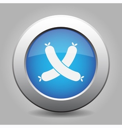 Blue metal button with sausages vector