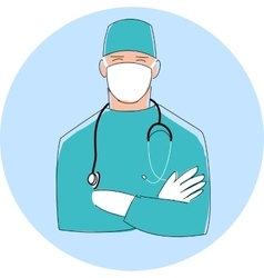 Doctor in mask male surgeon flat style design vector