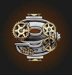 9 letter with gears vector