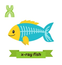 X ray fish X letter Cute children animal alphabet vector image