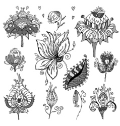 Set of floral bouquets retro flowers vector