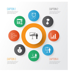 Authority icons set collection of decision making vector