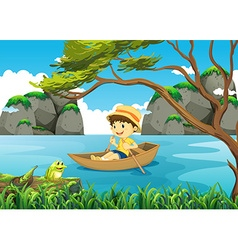 Boy rowing boat alone in the lake vector