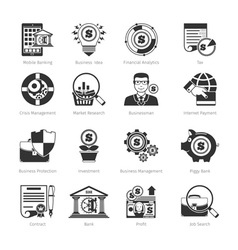 Business and finance black icons vector