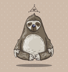 Cartoon sloth meditates cartoon in vector