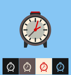 Clock icon flat on different vector