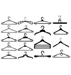 Clothes hanger silhouette collection vector