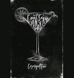 Cosmopolitan cocktail chalk vector