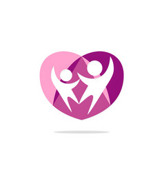 couple love people heart logo vector image vector image