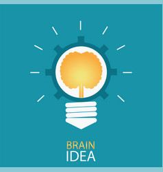 Creative light bulb with brain and gear vector
