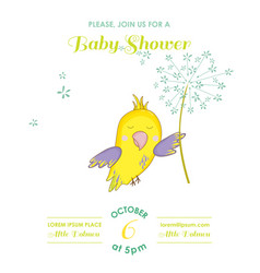 Cute parrot flying with a flower baby shower card vector