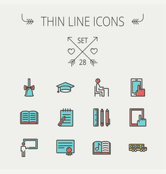 education thin line icon set vector image