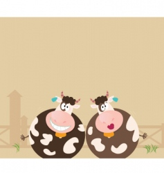 farm animals two happy cows vector image vector image