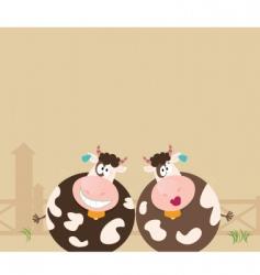 farm animals two happy cows vector image