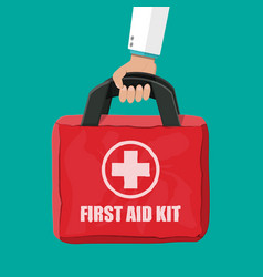 First aid kit cloth bag for medicine vector