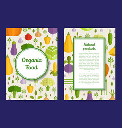 flat vegetables vegan healthy food card vector image vector image
