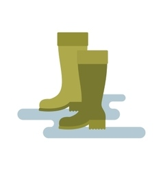 Green rubber rain boots green color vector image