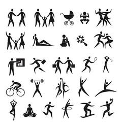 Icon set human figures vector
