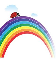 ladybird on rainbow vector image vector image