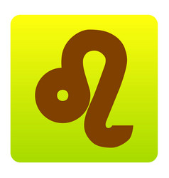 Leo sign brown icon at green vector