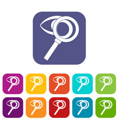 magnifying glass with eye icons set vector image