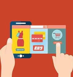 Mobile app for online shopping vector