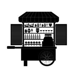 monochrome silhouette with ice cream bike vector image vector image