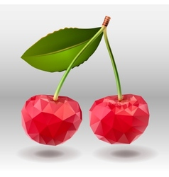 Polygonal red cherry berries with green leaves vector image