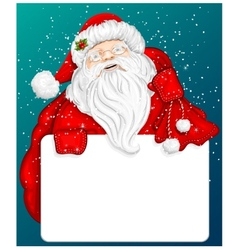 Santa claus holds banner for text vector
