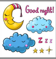 Set of images about good night vector