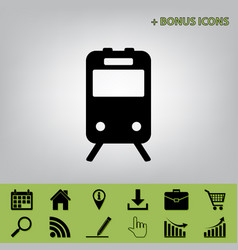 Train sign black icon at gray background vector