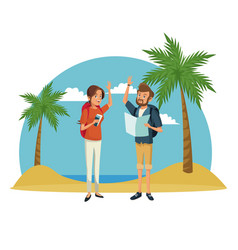traveler couple beach landscape vacation vector image