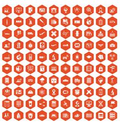 100 globe icons hexagon orange vector