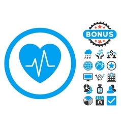 Heart ekg flat icon with bonus vector