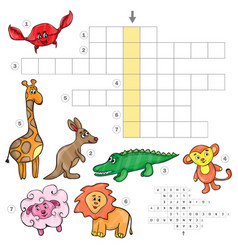 cartoon crossword game with cute cartoon african vector image
