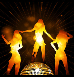 Female glowing silhouettes and disco ball vector